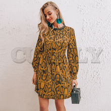 CUERLY Sexy snake print women short dress Long sleeve lace splice buttons dresses Casual club female spring fashion vestidos