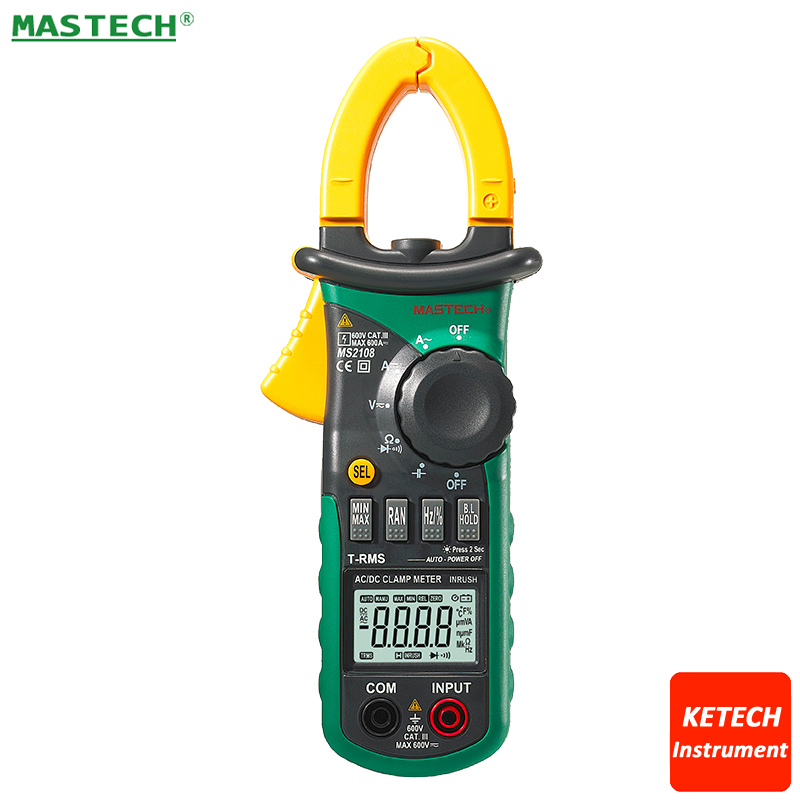 Digital Clamp Meter True-rms Inrush Current 66mF Capacitance Frequency Measurement Mastech MS2108 mastech ms2108s digital ac dc current clamp meter true rms multimeter capacitance frequency inrush current tester vs ms2108