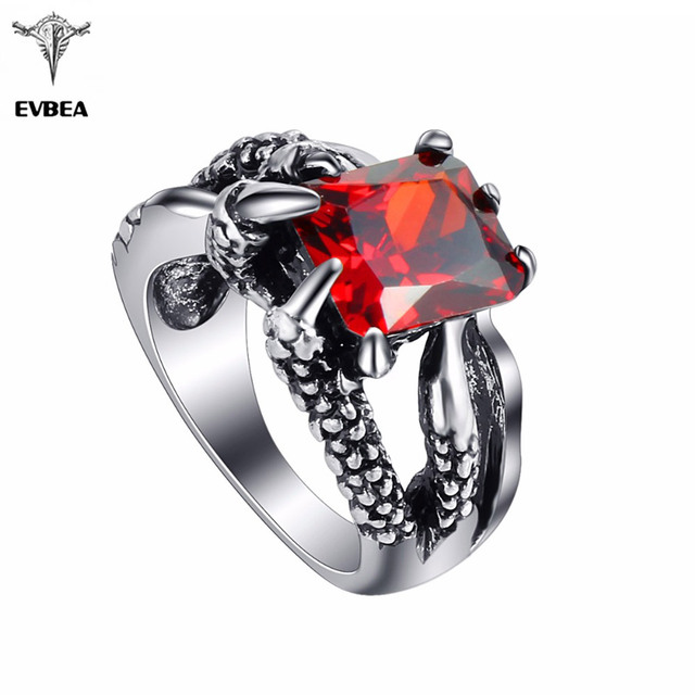 EVBEA Dragon Claw Hip Hop Rock Punk Silver Plated Big Red CZ Stones Rings Bikers Motorcycle Women Men's & Boys' Party Jewelry