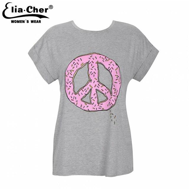 T-shirt Das Mulheres Tops Elia cher marca Chic Moda Ativo Casual Verão Top Tee Impressão Plus Size Causal Roupas Femininas