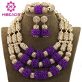 New Trendy Purple Crystal Beads Set 2017 Nigerian African Wedding Groom Beads Necklace Jewelry Set Women Free ShippingABH089