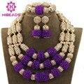 Nueva Moda Púrpura De Cristal Fijaron 2017 Novio Nigeriano Boda Africana Cuentas de Collar de La Joyería Mujeres Envío ShippingABH089