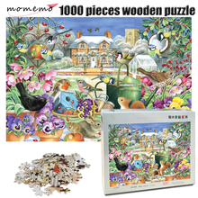 MOMEMO Garden landscape Jigsaw Puzzle 1000 pieces wooden birds and Animal in the winter Puzzles adult decompression toys