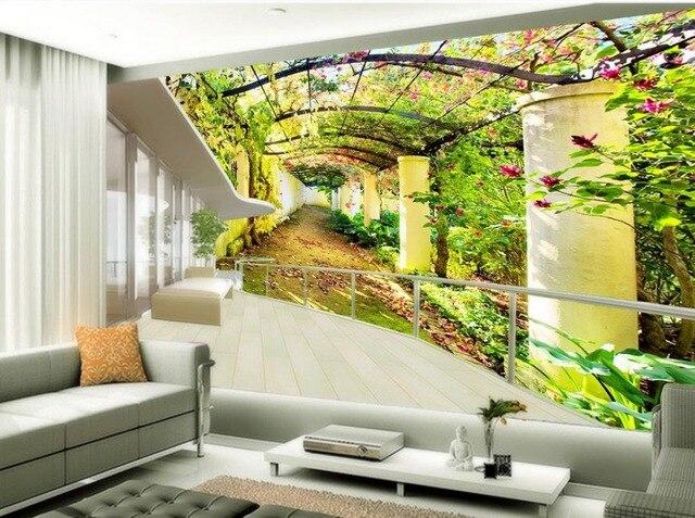 Personnalise 3d Murale Papier Peint De Style Europeen Fleur Porte