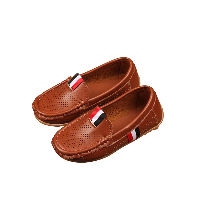 Spring Autumn 2019 Children Holes Shoes PU Leather Casual Styles Boys Girls Shoes Soft Breathable Loafers Slip On Kids Shoes