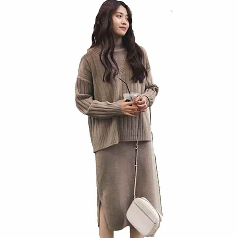 39e5a6ac312b9 Women Autumn Casual 2 Pieces Set Long Sleeve V-neck Pullovers   Side Split  Skirt