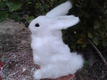 about 21x16cm simulation white rabbit model toy polyethylene & furs rabbit model,decoration gift t362
