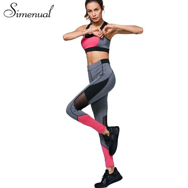 Simenual Athleisure summer женские спортивные костюмы спортивная одежда фитнес тонкий сетки сращивания сексуальный костюм женщины бюстгальтер и леггинсы 2 шт. набор