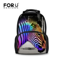 FORUDESIGNS 3D Zebra Printing Student School Bags Large Capacity Children Teenager Book Bags Kids Mochila Schoolbags for Girls