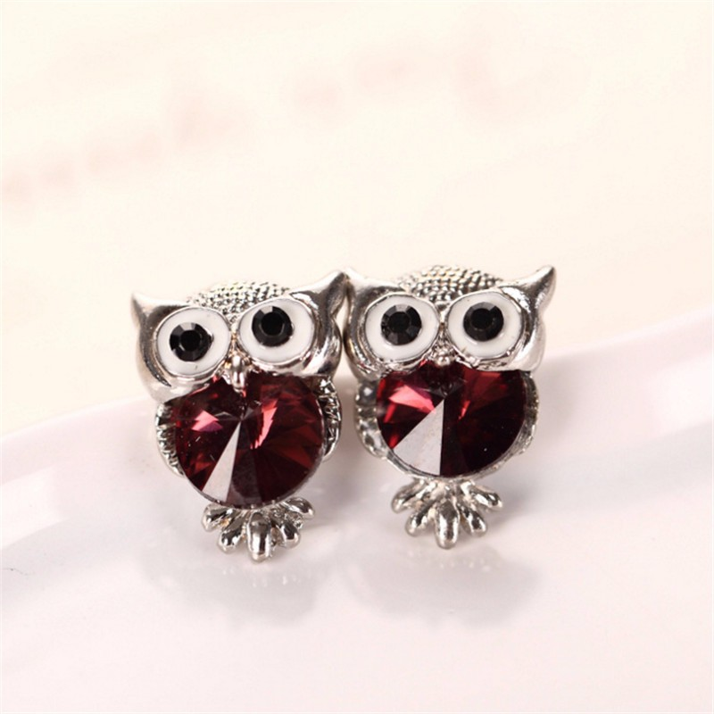 New Design Crystal Women Charms Owl Stud Earrings Cute Colors Fashion Ruby Jewelry White Gold Plated Trendy For Wedding HFNE0