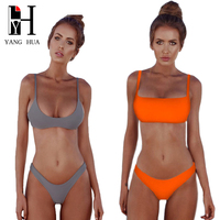 YANG HUA Sexy Bikini Set 2018 Summer Solid Color Swimwear Women Brazilian Bikini Swimsuit Beach Wear