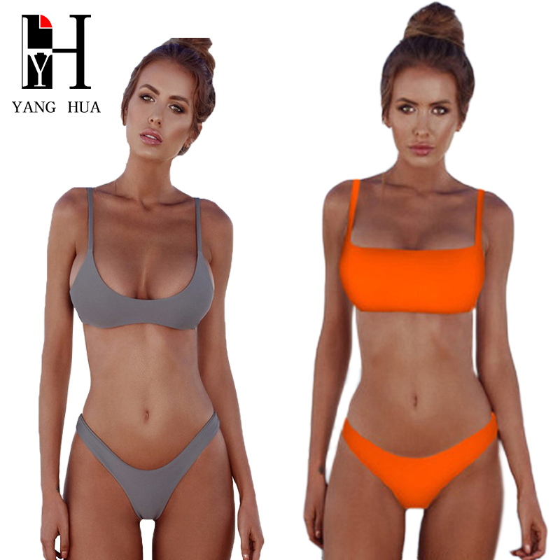 YANG HUA Sexy Bikini Set 2018 Summer Solid Color Swimwear Women Brazilian Bikini Swimsuit Beach Wear Bathing Suit Popular Female