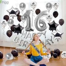 Frigg 40Pcs Happy 16th Birthday Balloon Silver Foil Number Balloons For Grow Up Party Decoration Ballons Supplies