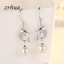 ZRHUA 100% 925 Sterling Silver Long Dangle Dolphin Earrings