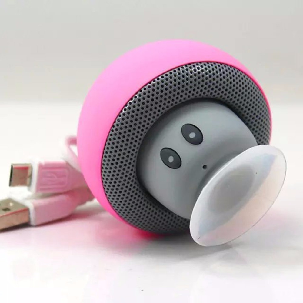 Mini Wireless Bluetooth Portable Mushroom Mini Speaker with Mic Suction Cup Stereo Subwoofer Phone Holder For phone Laptop