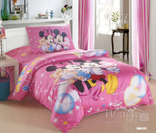 2016 Bedding Set 100% Cotton Pink Mickey Mouse Printing Cartoon Style Duvet Cover Set 3pcs Home Textile Quilt Cover for sale