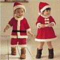 Varejo Nova Chegada do bebê Recém-nascido menina vestida de Natal Festivo vestido de menino macacão desgaste do bebê arco detalhe chapéu roupas