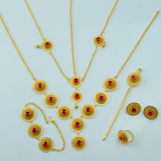 Ethiopian set Jewelry Necklace Earring Ring Hair Pice Hair Chains Bracelet 6pcs Gold Plated  African Eritrea Bridal Habesha