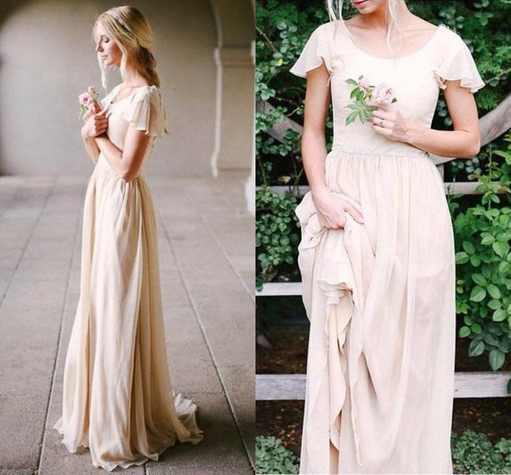Champagne Beach Boho Wedding Dresses Scoop Backless Long country ...