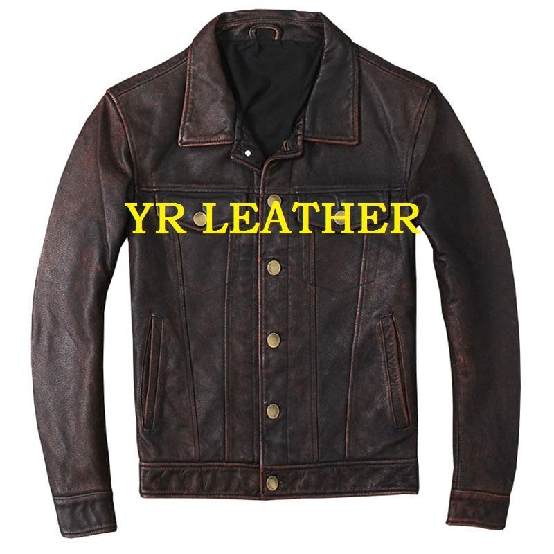 YR! Бесплатная доставка. Оптовая Продажа. Мужская куртка из натуральной кожи в японском стиле. Br own винтажное пальто из коровьей кожи. Тонкие куртки из воловьей кожи Кожаные куртки      АлиЭкспресс