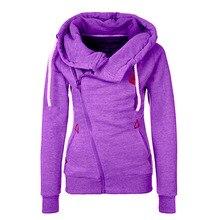 2017   Style Women Side Zipper Hooded Fleece Jacket Hoodies Sweatshirt