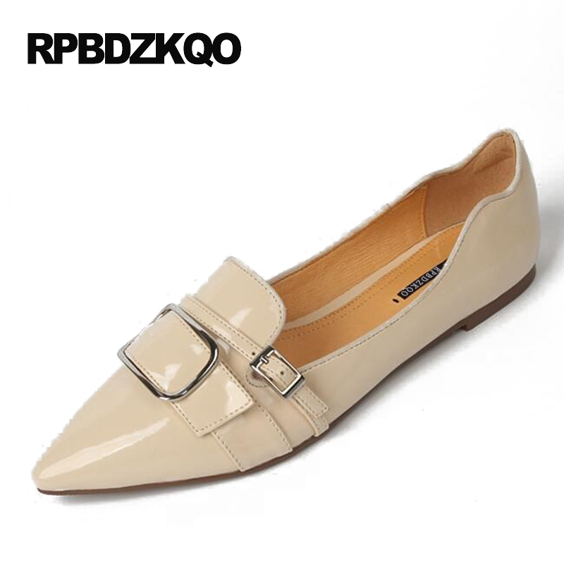 Metal Black Flats Designer Shoes Women Luxury 2017 Office Runway Pointed Toe Work Nude Ladies Patent Leather European Slip On women ladies flats vintage pu leather loafers pointed toe silver metal design