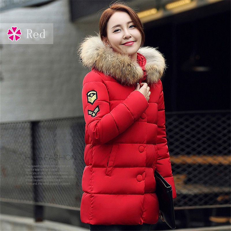 Winter Jacket Women 2016 New Fashion Big Raccoon Fur Collar Thick Cotton Button Zippers Pockets Warm Hooded Coat Hot Selling 2017 winter new clothes to overcome the coat of women in the long reed rabbit hair fur fur coat fox raccoon fur collar