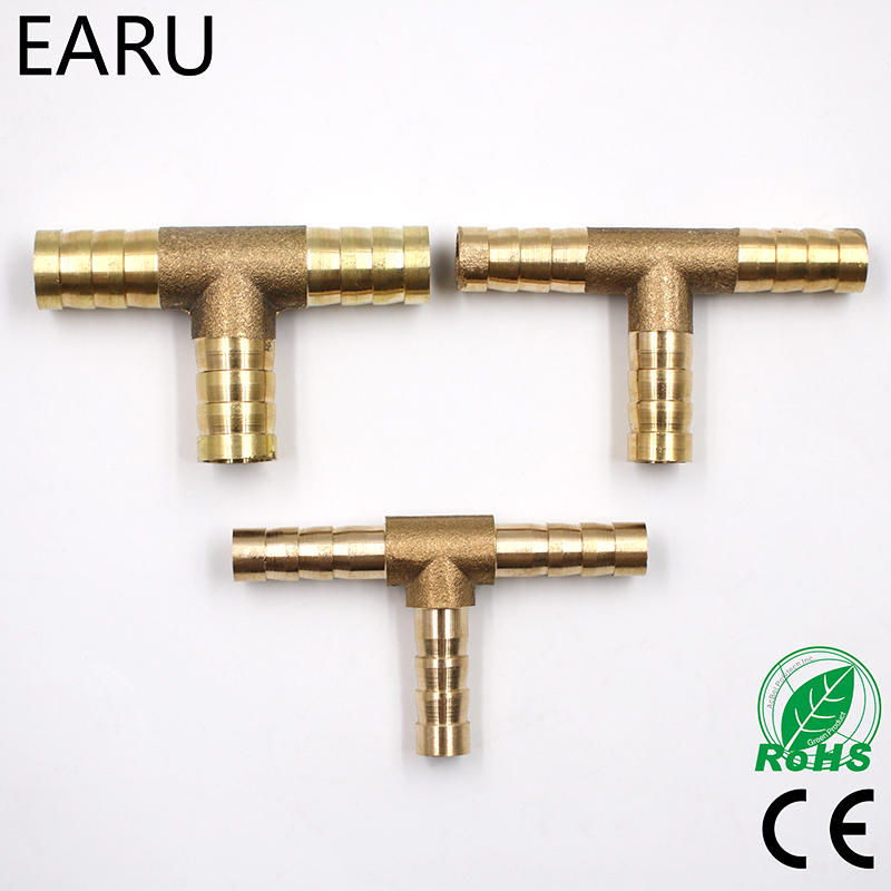 1Pc 6-12mm BRASS T Hose Joiner Piece 3 WAY Fuel Water Air Gas Oil Pipe TEE CONNECTOR Pneumatic Plug Socket Adapter