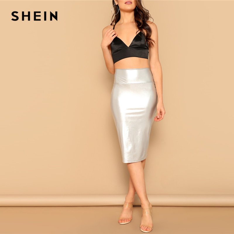 SHEIN Glamorous Silver Wide Waist Metallic Bodycon Skirt Summer Elegant Office Lady High Waist Pencil Solid Bodycon Long Skirt