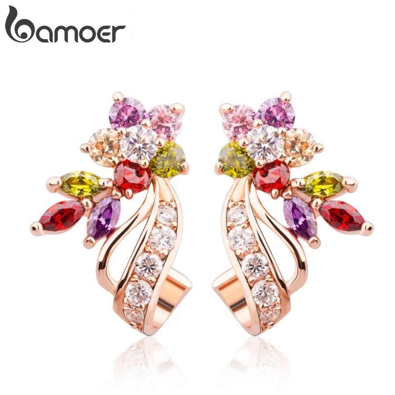 BAMOER   Gold Color Flower Oversized Big Stud Earrings with Multicolor AAA Zircon Stone Birthday Gift Jewelry JIE019