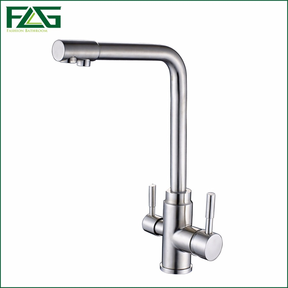 FLG 3 Way Tap 304 Stainless Steel Drinking Water Faucet Water Filter  Purifier Kitchen Faucets For
