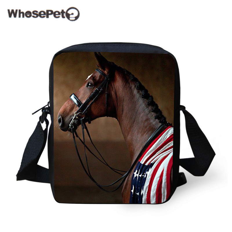 WHOSEPET Fashion Shoulder Bag for Women Men Horse Lovers Printing Messenger Bags Small Keys Phone Shoulder Satchel 3D Mochila aosbos fashion portable insulated canvas lunch bag thermal food picnic lunch bags for women kids men cooler lunch box bag tote
