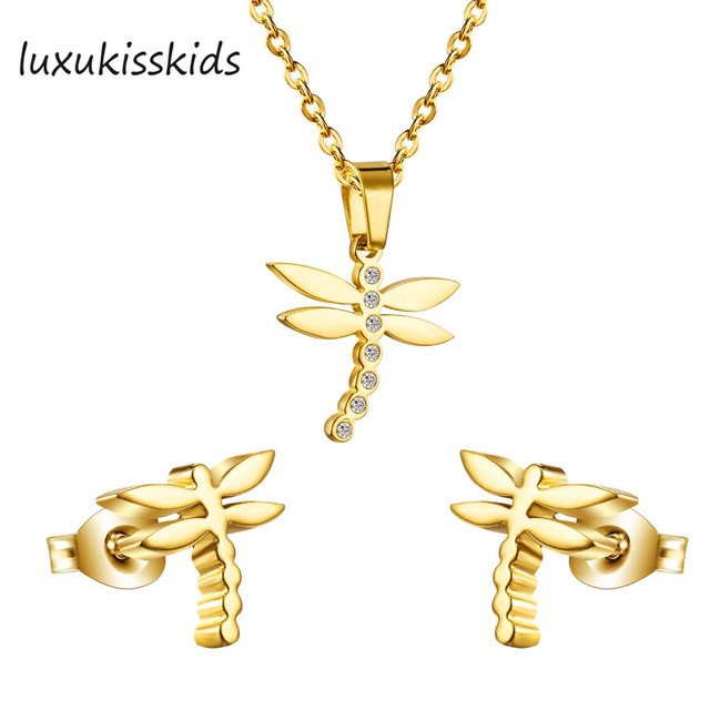 177037926228 LUXUKISSKIDS nueva venta caliente llegada libélula Zircon collares y  pendientes conjuntos de joyas de acero inoxidable