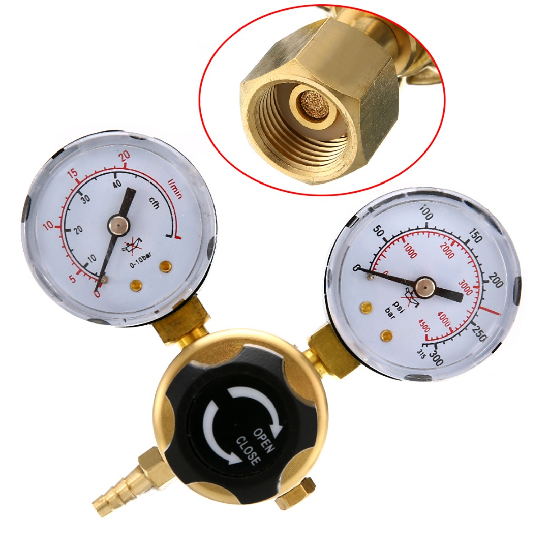 1pc 0-20Mpa Pressure Regulator Mig Tig Welding Flow Meter Gauge W21.8 Oulet For Argon CO2 Gas htp argon co2 mig tig flow meter regulator welding weld regulator gauge for welder