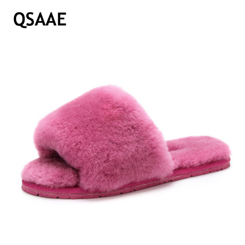 2017 Natural Sheepskin Slippers Fashion Winter Open Toe Women Indoor Slippers Fur Warm High Quality Wool Soft Plush Lady AWM210