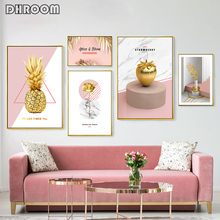 Minimalist Wall Art Nordic Pink Gold Plant Canvas Painting Golden Pineapple Rose Posters Prints Living Room Decorative