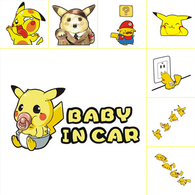 Baby On Board In Car Warning Stickers Pokemon Pikachu Collided The