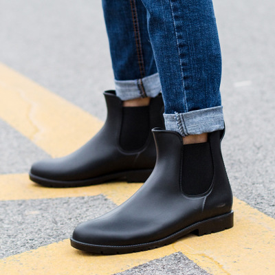 Chelsea boots men rain boots low bot warm boots male low bot water shoes men slip bot galoshes fishing boots wellies Waterproof цена