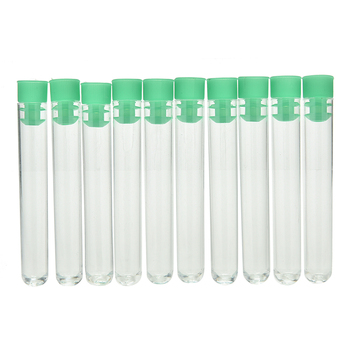 10Pcs 12x75mm Hard Plastic Tube Polystyrene Test Tube High Transparency Clear Tubes With Caps Stopper School Lab Supplies 2