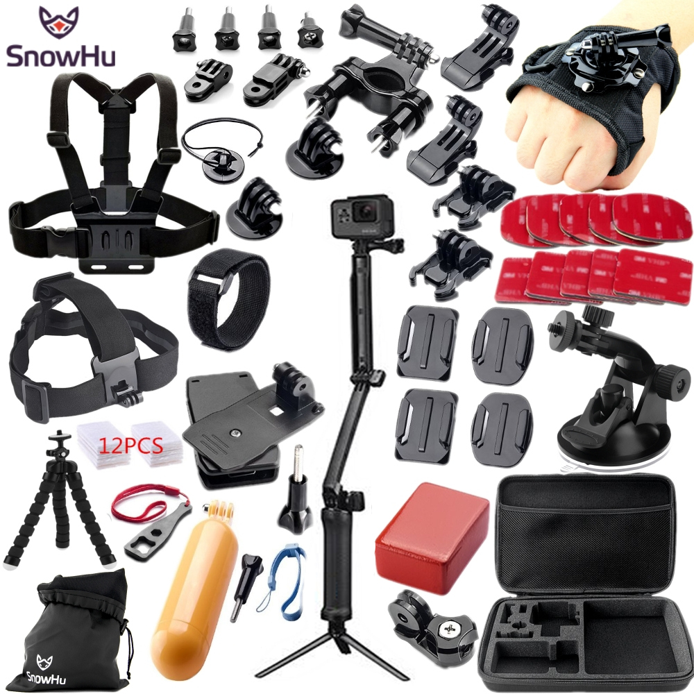 SnowHu for Gopro Accessories Set for go pro hero 7 6 5 4 3 kit 3 way selfie stick for Eken h8r / for xiaomi for yi EVA case GS38