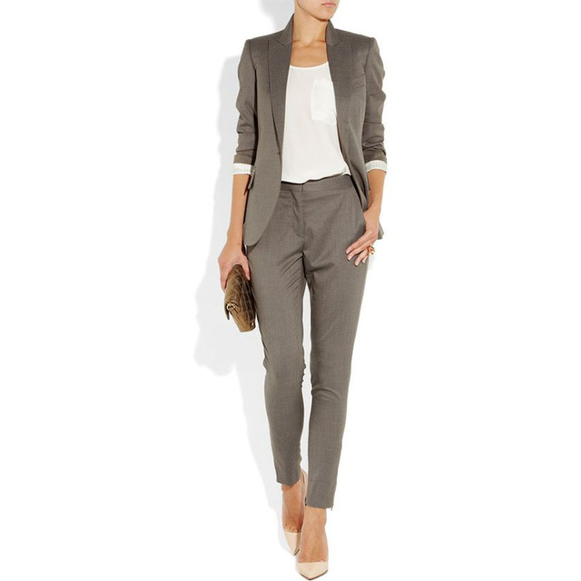 Gray 2 piece set women formal pant suits for weddings female ...