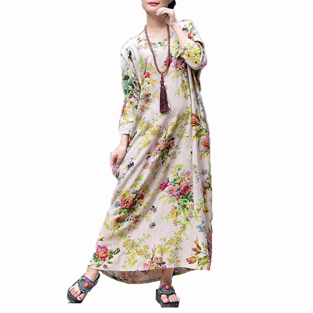 Boho Dress Women Cotton Linen Maxi Dress Vintage Floral Print Robe female  2019 Autumn Winter Long 06516e6491dd