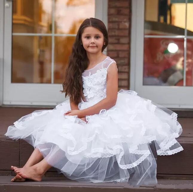 White Lace 3D Applique Flower Girls Dresses Jewel Neck For Weddings Girls Pageant Gowns Size 2-14Y