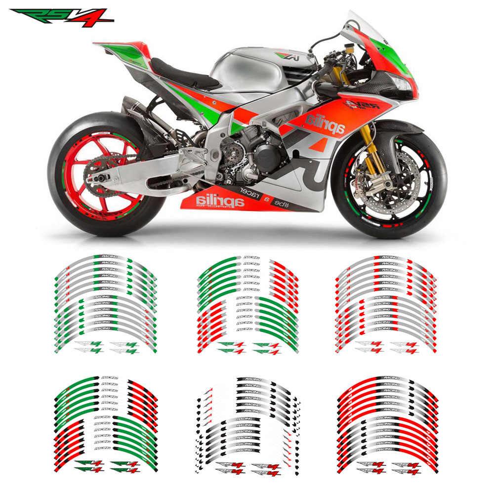 Новая мотоциклетная колесная наклейка 17 дюймов, Светоотражающие Водонепроницаемые наклейки для Aprilia RSV4 R/RR RSV4 RF RSV4 RFW MISANO RSV4 FACTORY ABS
