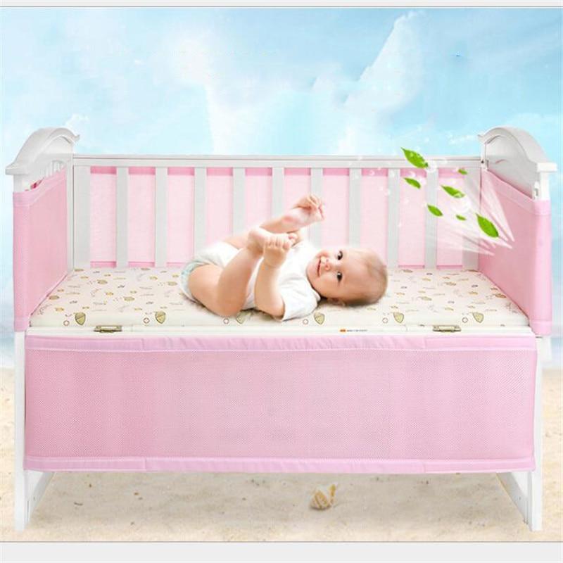 Baby Anti-collision Bedding Kit Crib Fence Breathable Mesh Crib Liner Removable Adjustable Length Two Colors Optional