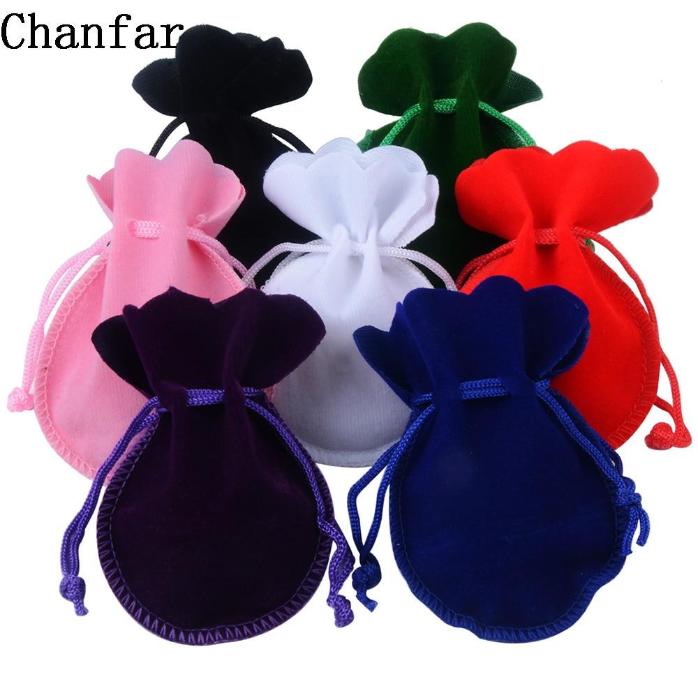 Chanfar 25pcs 7x9cm Velvet Bag White Red Black Pink Green Drawstring Pouch Calabash Shape Gift & Packing Bags For Wedding