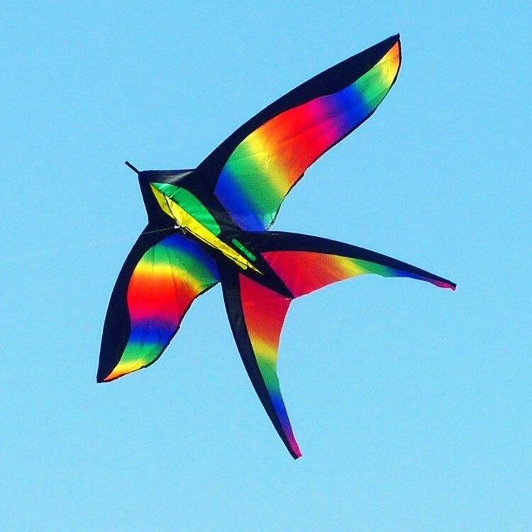 Высокое качество, Радужная птица, летучие змеи с ручкой, летающая игрушка, самолет, Орел, кайт, Рипстоп, нейлон