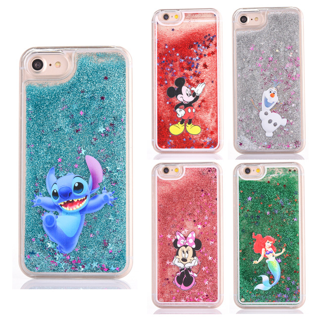 sports shoes 7d4b9 c8a2a US $3.68 |Cute cartoon glitter Bling Crystal phone case for iphone 7/8 plus  case mickey Minnie Stitch Mermaid Liquid Quicksand Cover-in Fitted Cases ...