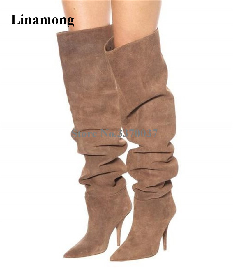 Linamong Women Fashion Pointed Toe Suede Leather Pleated Stiletto Heel Over Knee Boots Slip-on Loose High Heel Long BootsLinamong Women Fashion Pointed Toe Suede Leather Pleated Stiletto Heel Over Knee Boots Slip-on Loose High Heel Long Boots