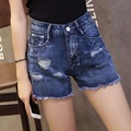 2016 New High waist Cowboy Women Sexy Hole Denim Shorts Loose Leisure Summer Lady Wide-legged Hot Jeans Short Pants SK6389